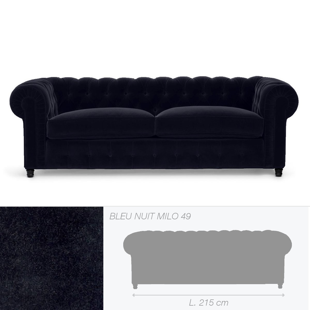 canap club house de marie 39 s corner 3 places bleu nuit. Black Bedroom Furniture Sets. Home Design Ideas