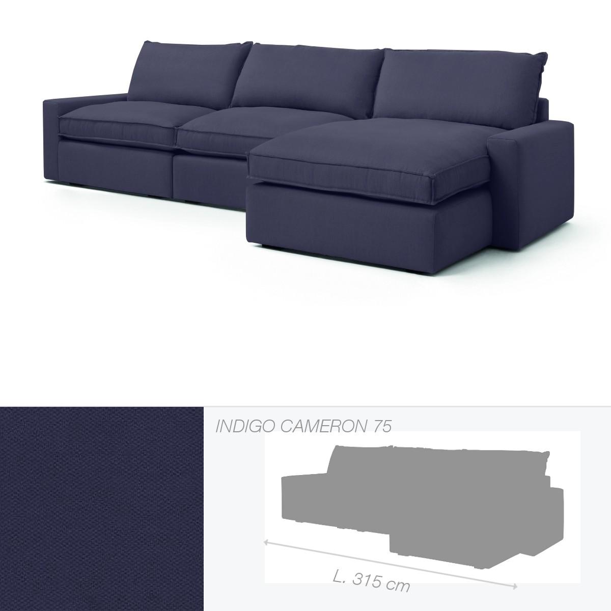 canap dakota de marie 39 s corner chauffeuse droite indigo. Black Bedroom Furniture Sets. Home Design Ideas