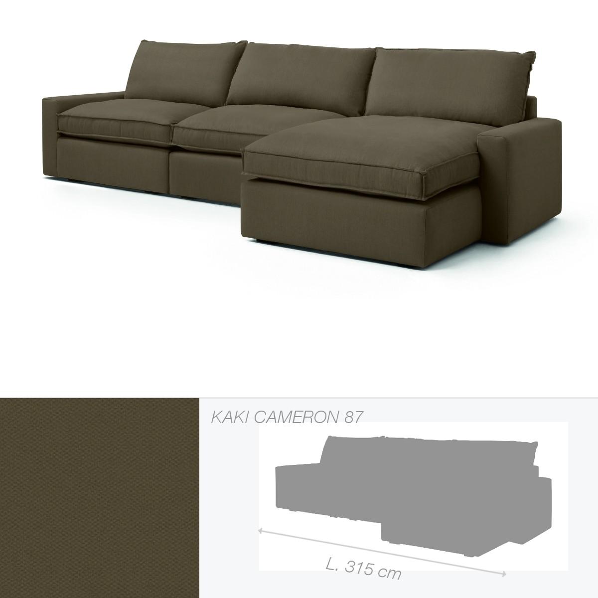 canap dakota de marie 39 s corner chauffeuse droite kaki cameron 87. Black Bedroom Furniture Sets. Home Design Ideas