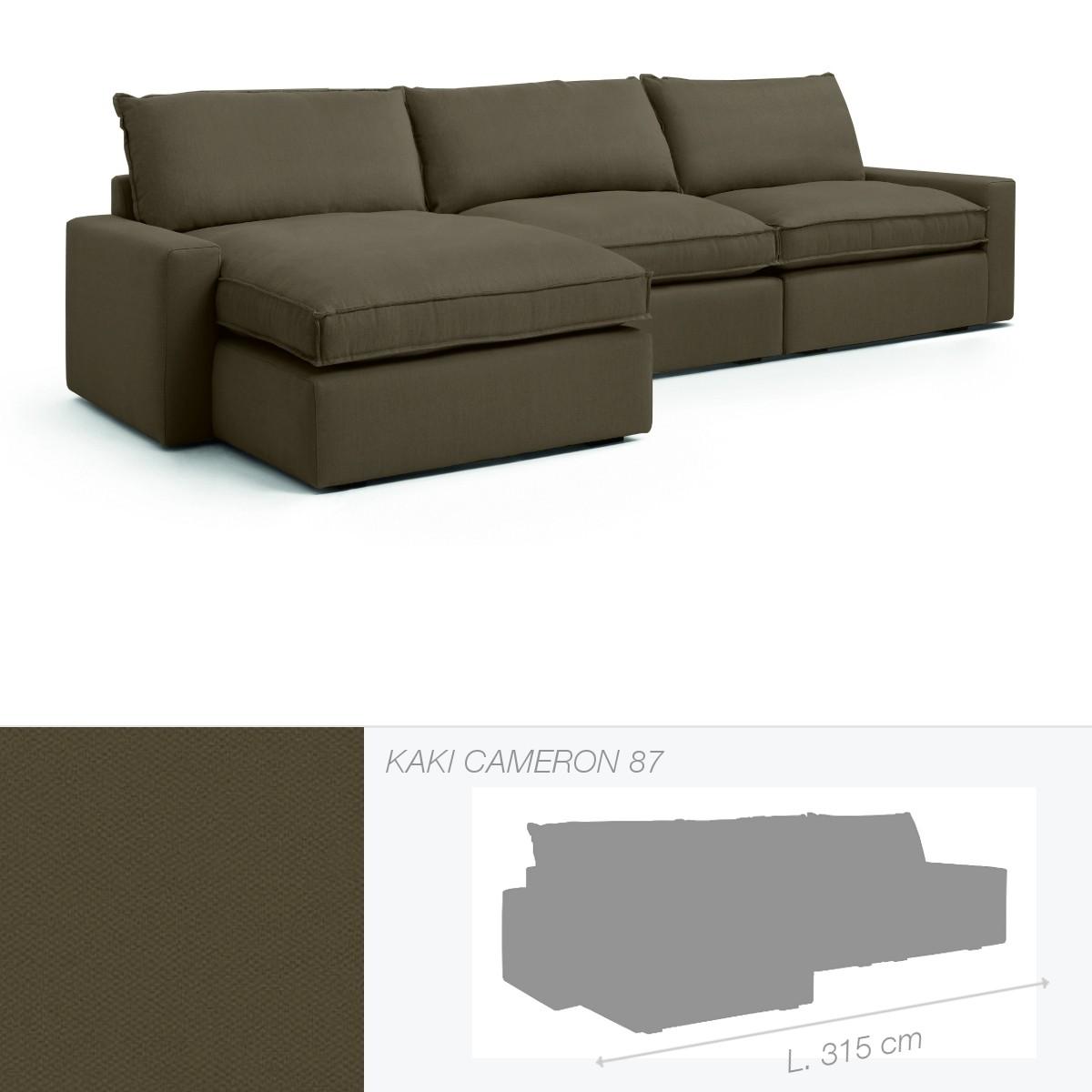 canap dakota de marie 39 s corner chauffeuse gauche kaki cameron 87. Black Bedroom Furniture Sets. Home Design Ideas