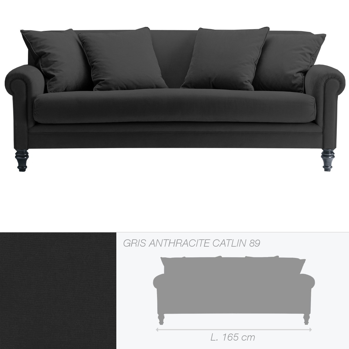 canap soho 2 places de marie 39 s corner gris anthracite catlin 89. Black Bedroom Furniture Sets. Home Design Ideas