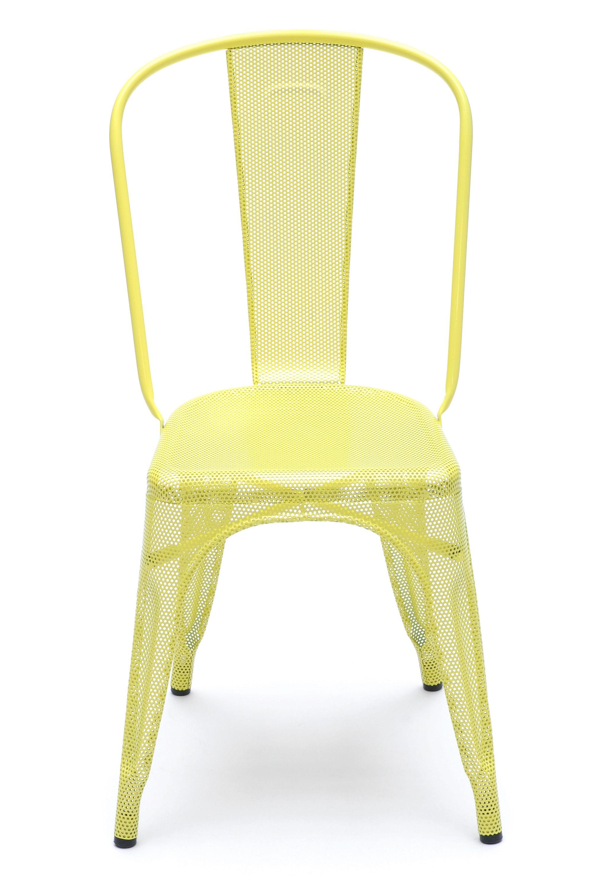 chaise a perfor e de tolix inox laqu tilleul. Black Bedroom Furniture Sets. Home Design Ideas