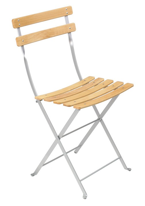Chaise bistro naturel bois de fermob gris m tal for Chaise bistrot fermob
