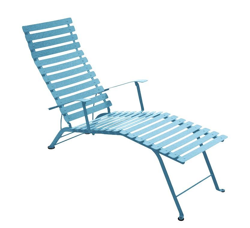 Chaise longue pliante bistro de fermob bleu turquoise for Chaise longue pliante