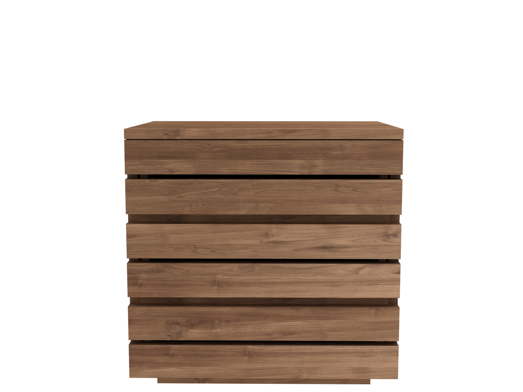 Chevet teck horizon d 39 ethnicraft 3 tiroirs for Table de chevet teck