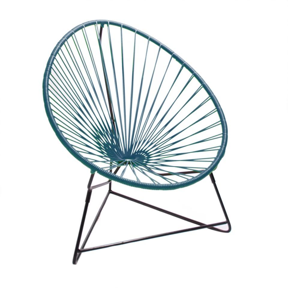 fauteuil acapulco enfant de boqa avec structure noire bleu canard. Black Bedroom Furniture Sets. Home Design Ideas
