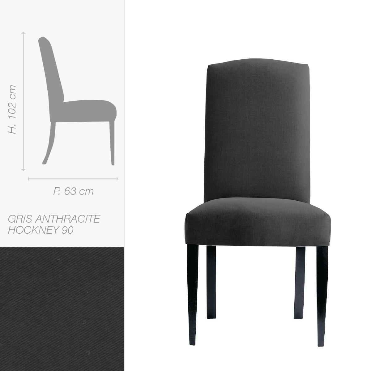 Chaise tissu anthracite dans chaise de salle manger for Chaise de salle a manger tissu