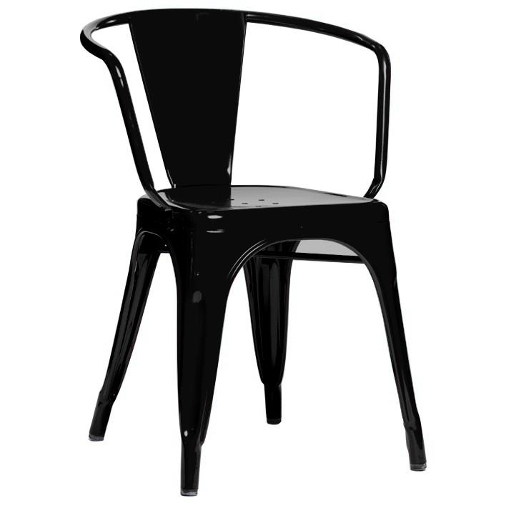 fauteuil a56 de tolix acier laqué, noir