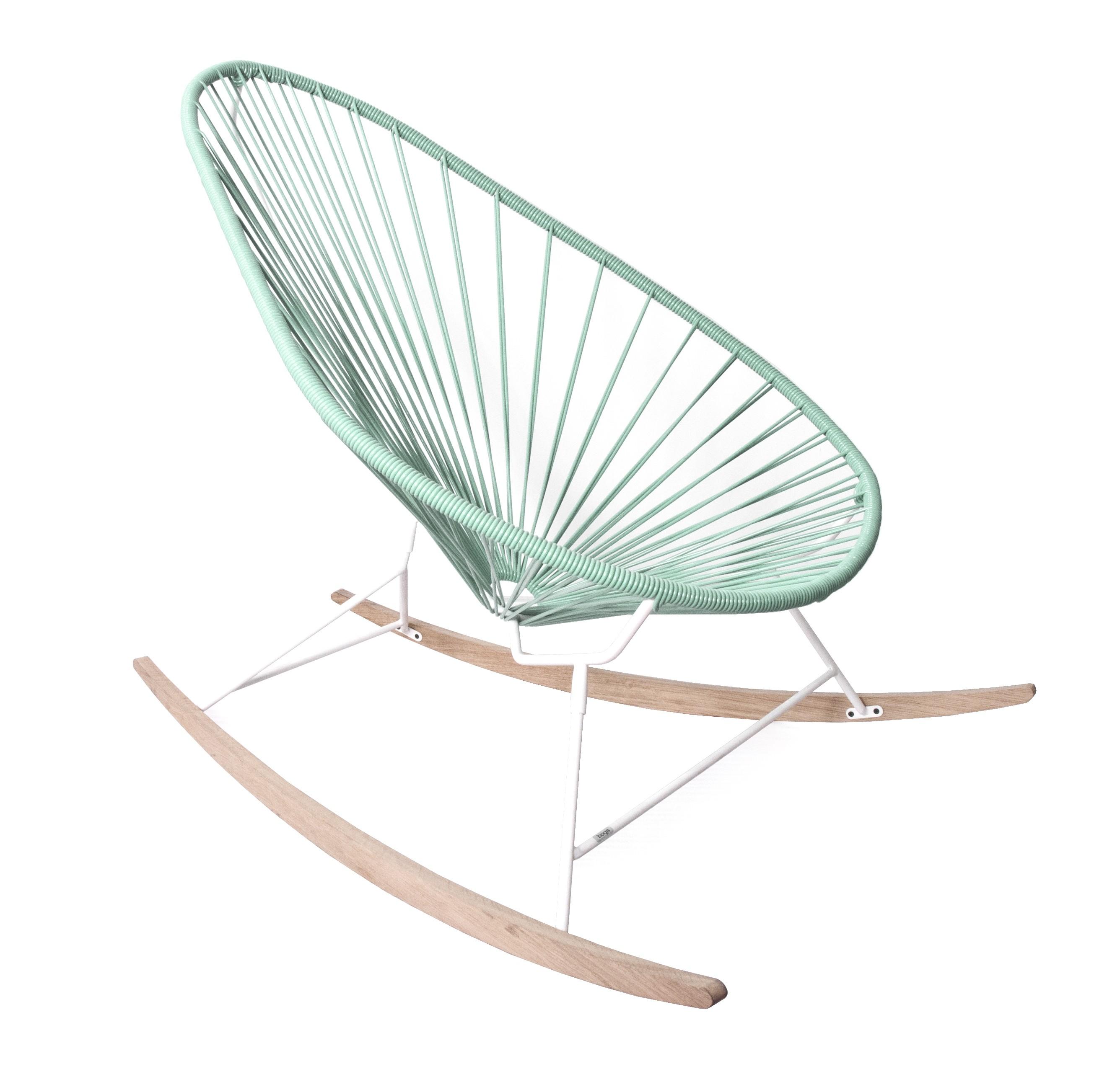 fauteuil bascule acapulco de boqa avec ski bois structure blanche vert d 39 eau. Black Bedroom Furniture Sets. Home Design Ideas