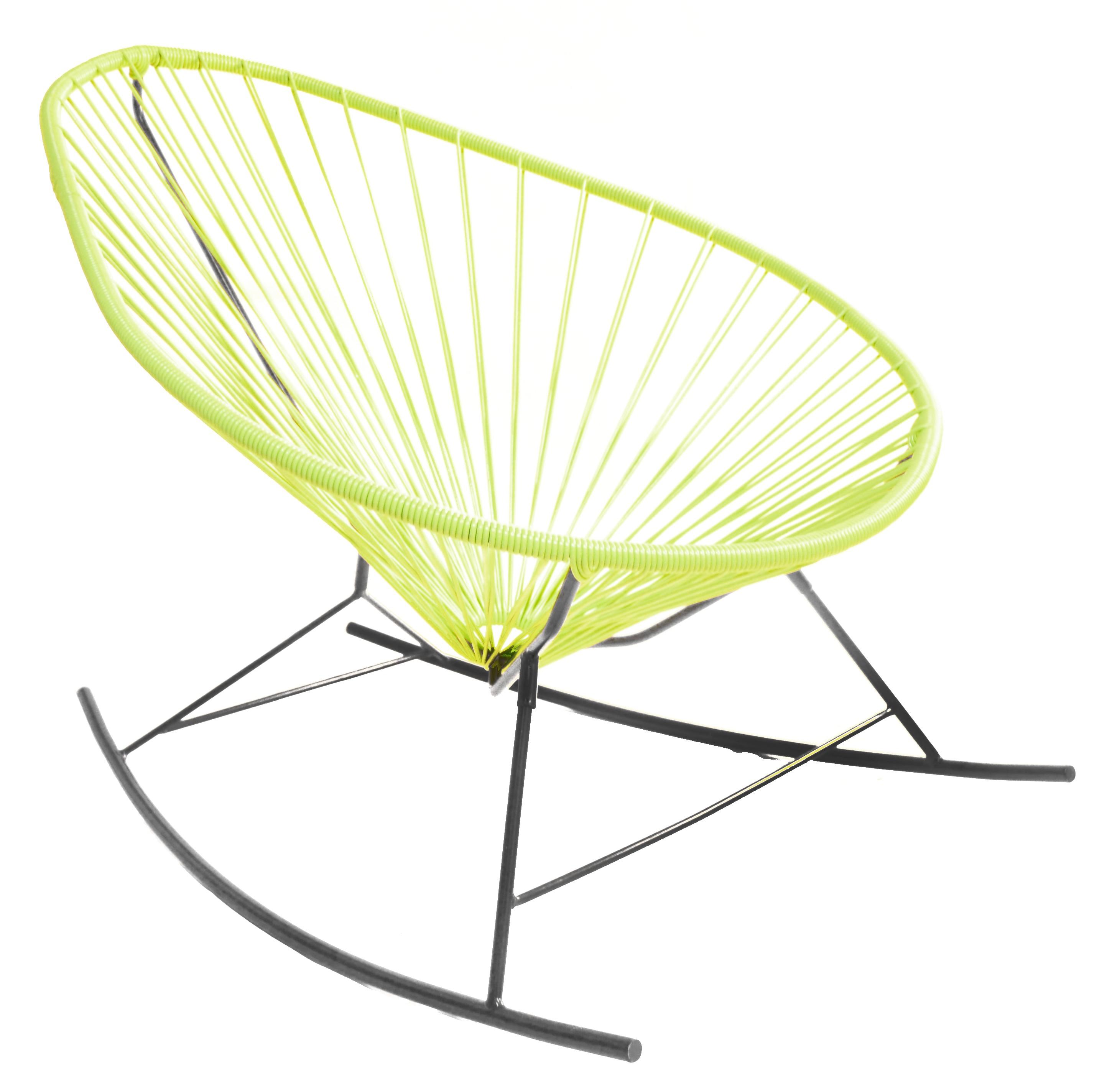 fauteuil bascule acapulco de boqa avec structure noire vert anis. Black Bedroom Furniture Sets. Home Design Ideas