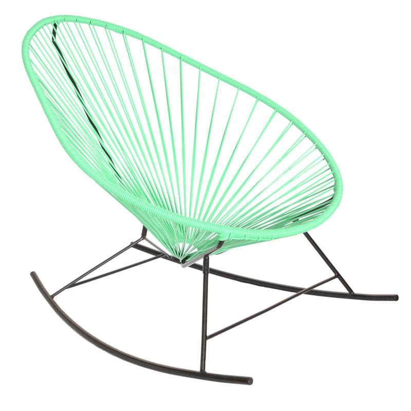 fauteuil bascule acapulco de boqa avec structure noire vert turquoise. Black Bedroom Furniture Sets. Home Design Ideas
