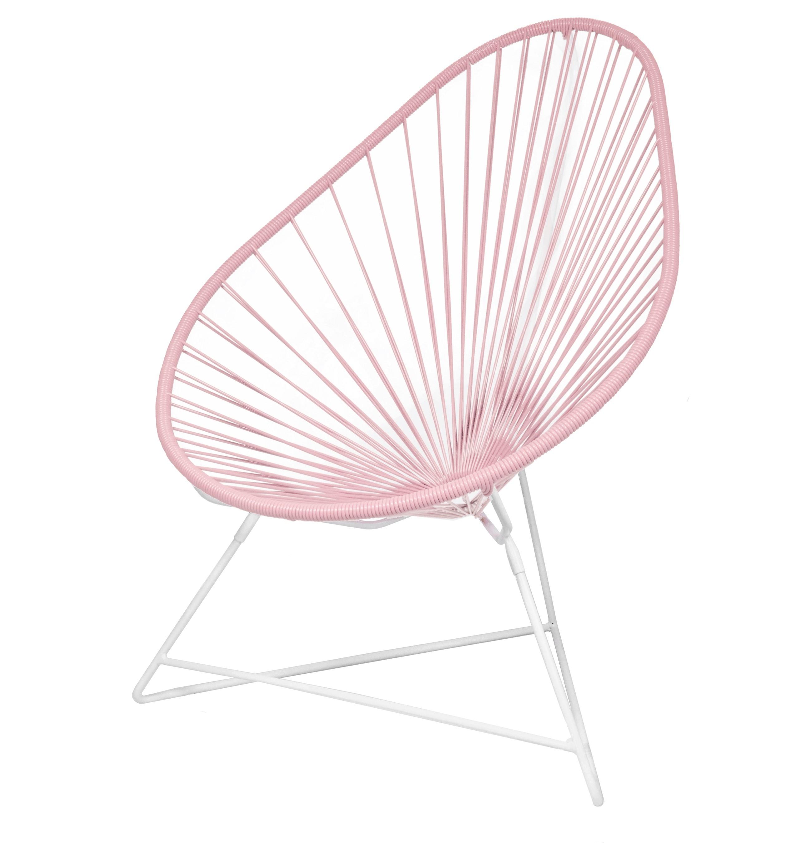 fauteuil acapulco de boqa avec structure blanche rose poudr. Black Bedroom Furniture Sets. Home Design Ideas