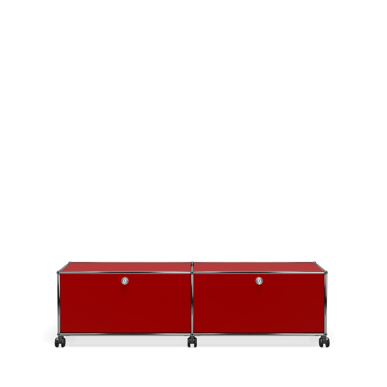 meuble de rangement bas usm haller m7 avec roulettes rouge rubis. Black Bedroom Furniture Sets. Home Design Ideas