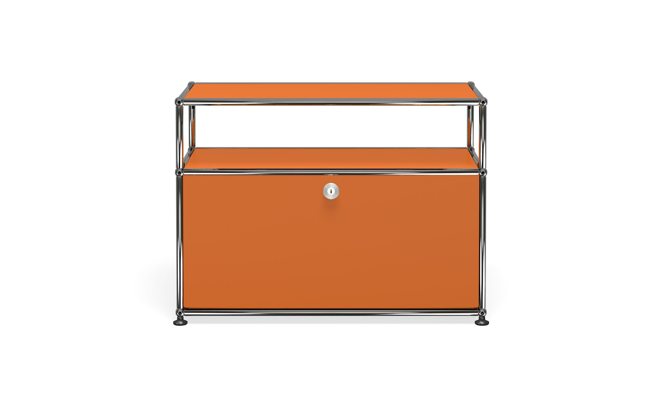 Petit meuble de rangement usm haller m6 orange pur for Meuble orange