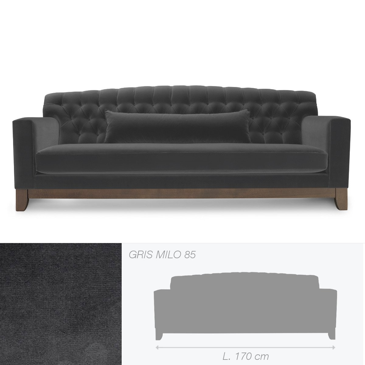 canap capitonn hollywood de marie 39 s corner 2 places gris. Black Bedroom Furniture Sets. Home Design Ideas