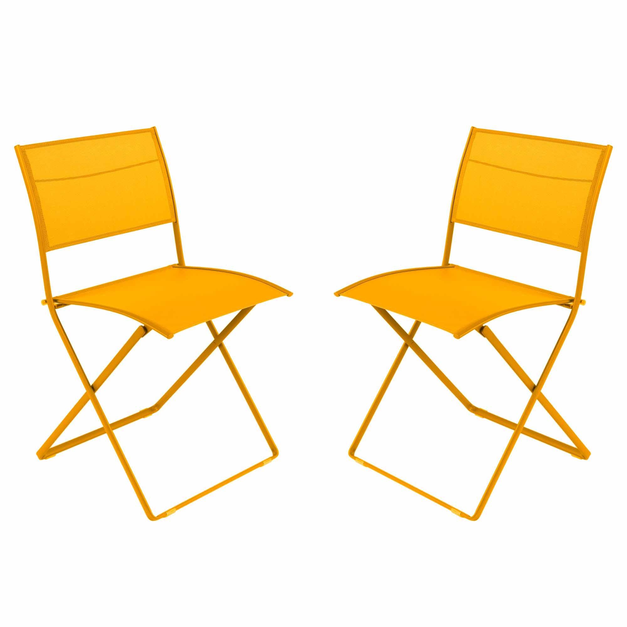 Lot de 2 chaises pliantes plein air de fermob miel - Lot chaises pliantes ...