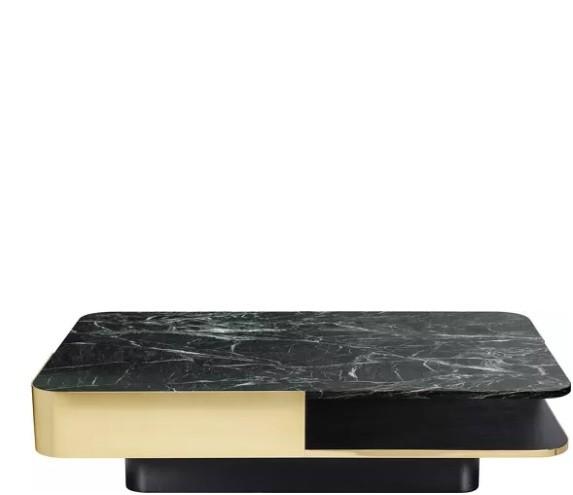 Table Basse Marbre Vert.Table Basse Lounge De Red Edition Large Plateau Marbre Vert Laiton
