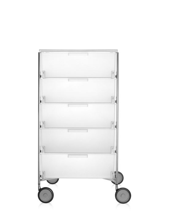 meuble de rangement mobil cinq tag res de kartell blanc glace avec roulettes. Black Bedroom Furniture Sets. Home Design Ideas