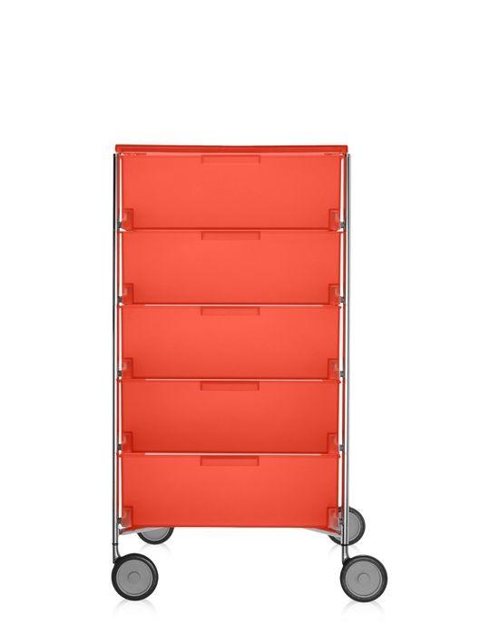 meuble de rangement mobil cinq tag res de kartell orange avec roulettes. Black Bedroom Furniture Sets. Home Design Ideas