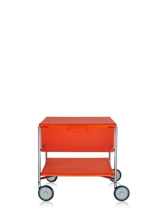 meuble de rangement mobil de kartell orange avec roulettes. Black Bedroom Furniture Sets. Home Design Ideas
