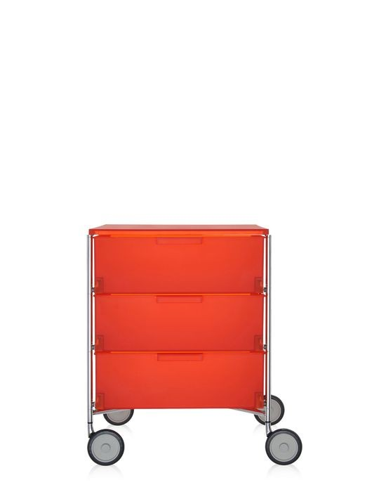 meuble de rangement mobil trois tag re de kartell orange avec roulettes. Black Bedroom Furniture Sets. Home Design Ideas