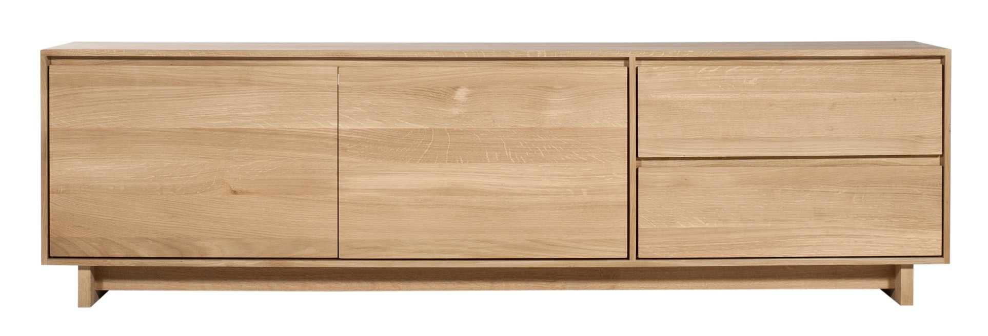 Meuble Tv Oak Wave D Ethnicraft 2 Porte 1 Porte Abattante 1  # Meuble Tv Bas Bois