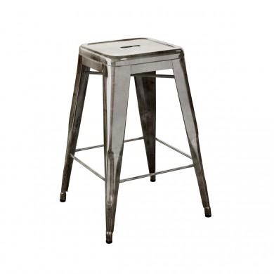 tabouret haut de tolix acier gris lasur. Black Bedroom Furniture Sets. Home Design Ideas