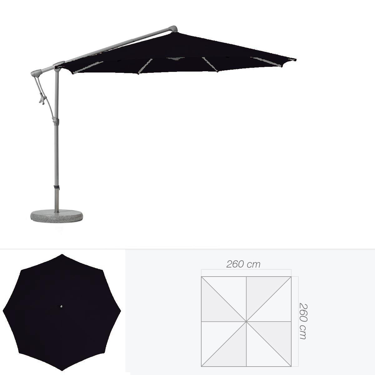 glatz parasol d centr sunwing c de glatz carr 260x260 cm noir d 39 anilime. Black Bedroom Furniture Sets. Home Design Ideas