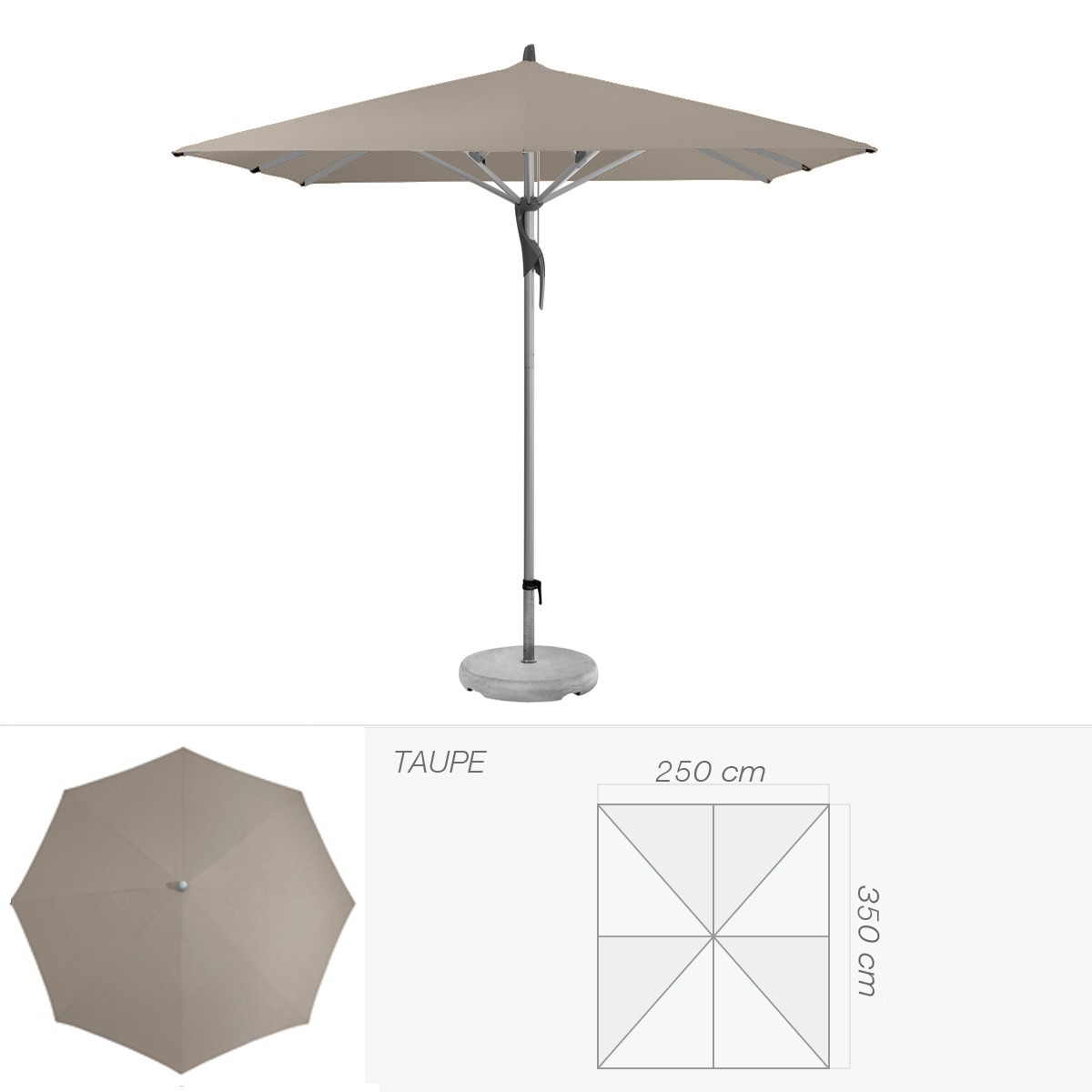 parasol fortero de glatz rectangulaire 350x250 cm taupe. Black Bedroom Furniture Sets. Home Design Ideas