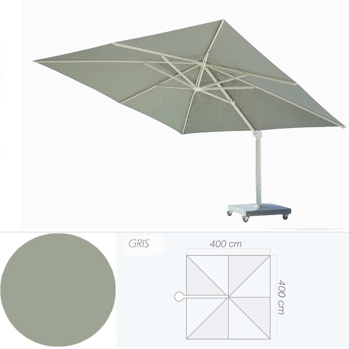 parasol kingston de jardinico gris et blanc. Black Bedroom Furniture Sets. Home Design Ideas