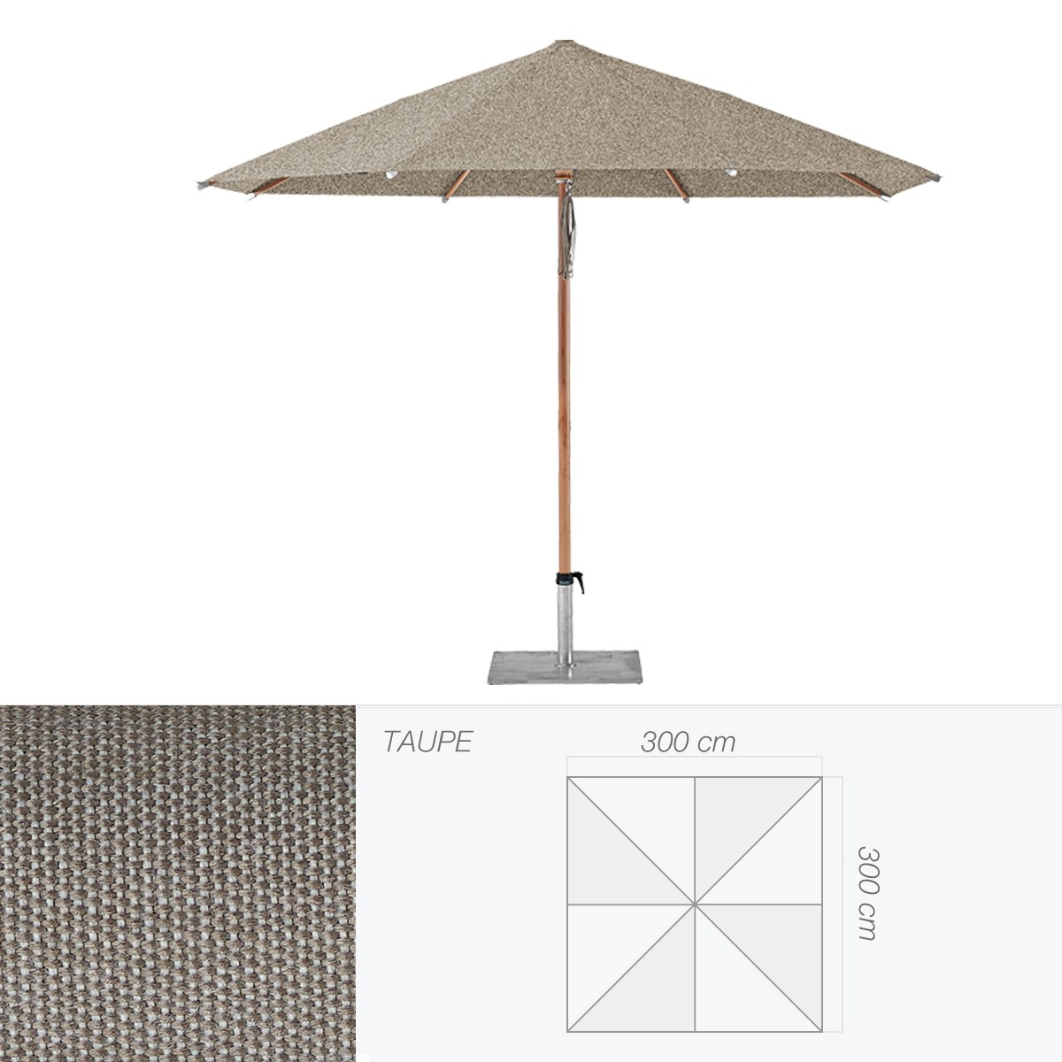 parasol piazzino de glatz carr 300x300 cm taupe. Black Bedroom Furniture Sets. Home Design Ideas
