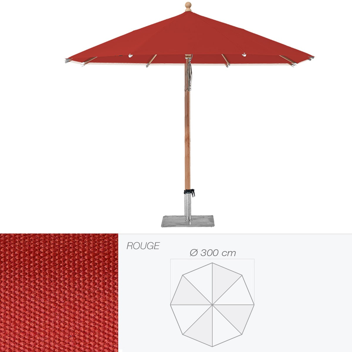 parasol piazzino de glatz rond cm rouge. Black Bedroom Furniture Sets. Home Design Ideas