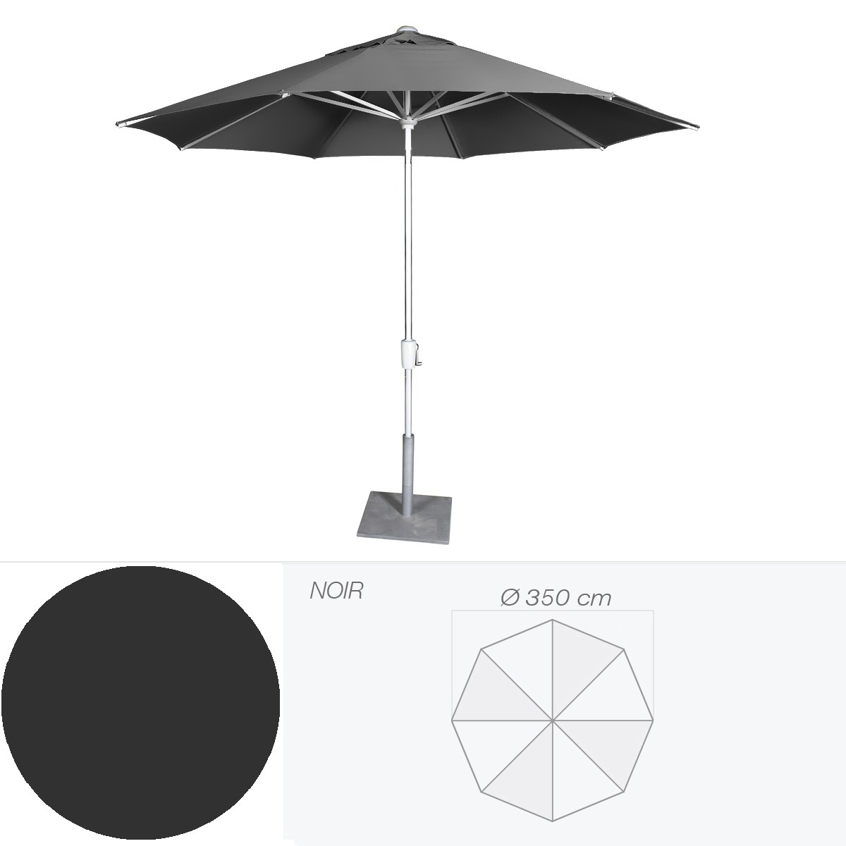 parasol riviera de jardinico cm noir. Black Bedroom Furniture Sets. Home Design Ideas