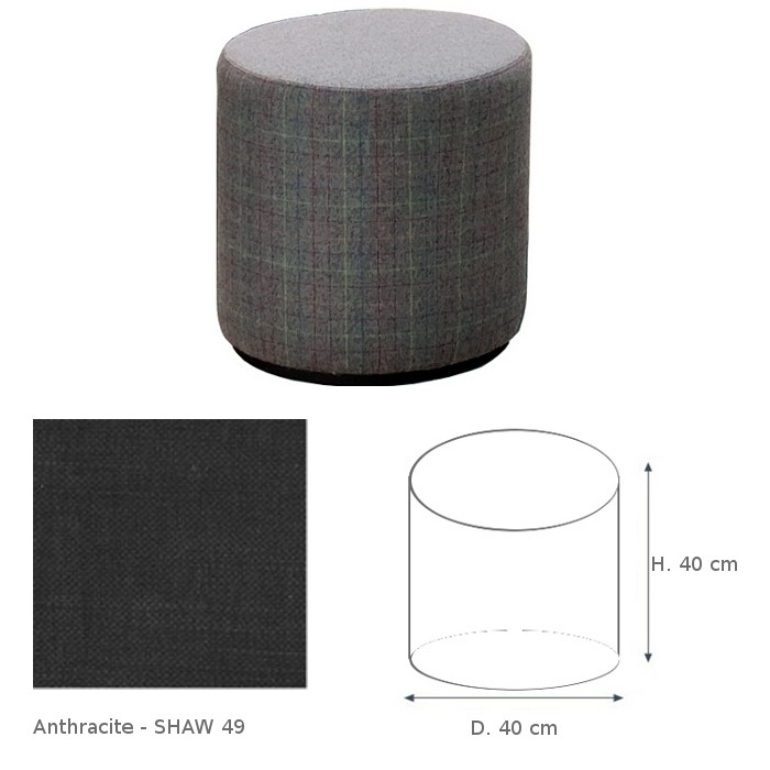 Pouf COLLIN de Marie\'s Corner gris anthracite Shaw 49