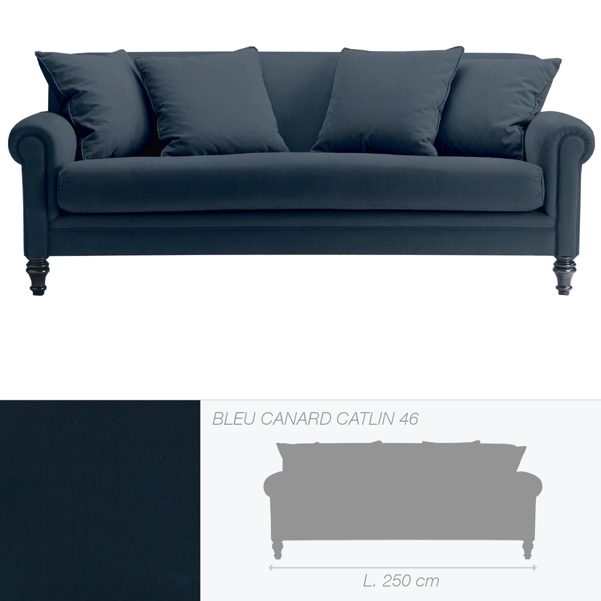 canap soho 4 places bleu canard catlin 46. Black Bedroom Furniture Sets. Home Design Ideas