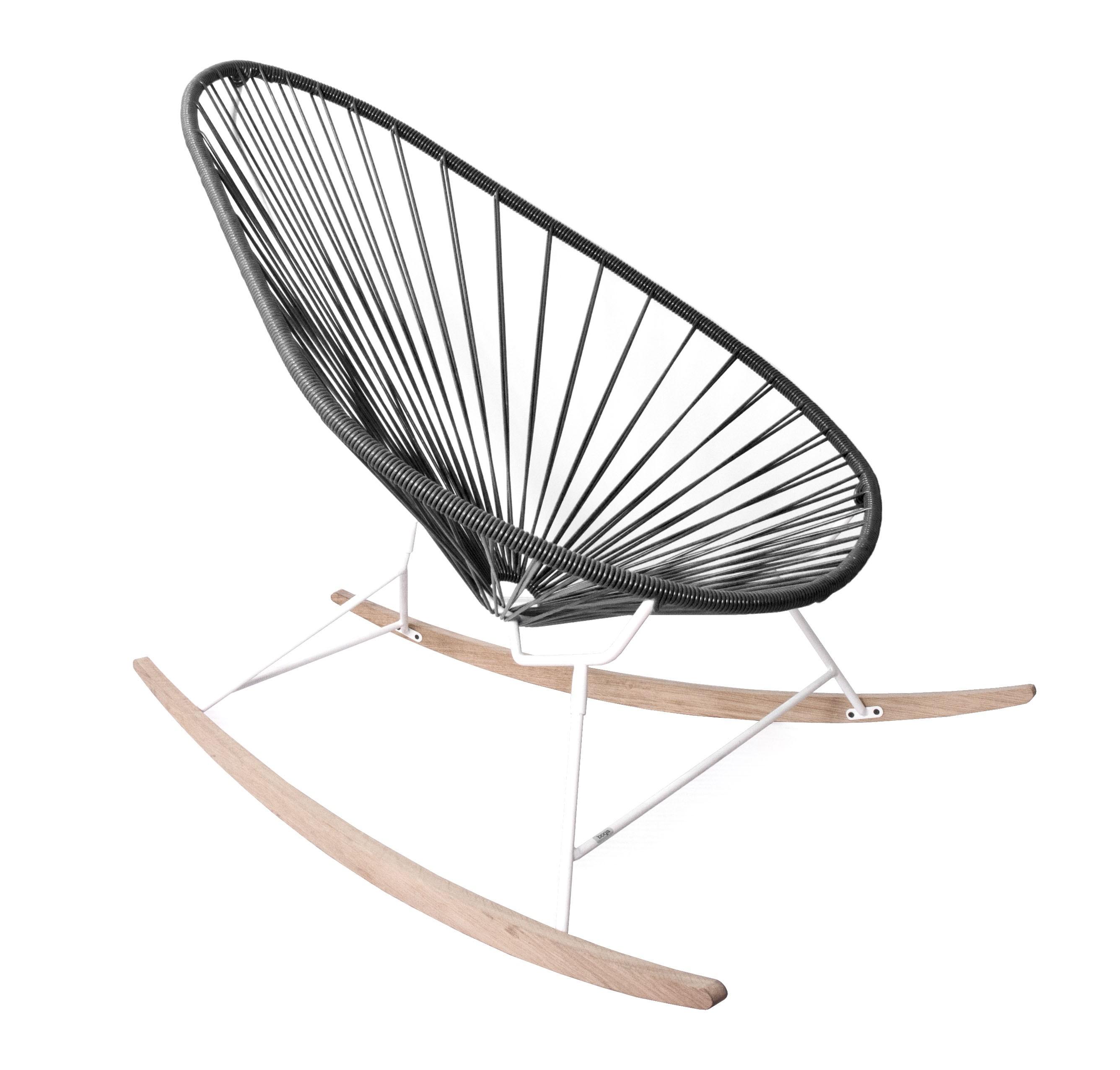 fauteuil bascule acapulco de boqa avec ski bois structure blanche noir d 39 aniline. Black Bedroom Furniture Sets. Home Design Ideas