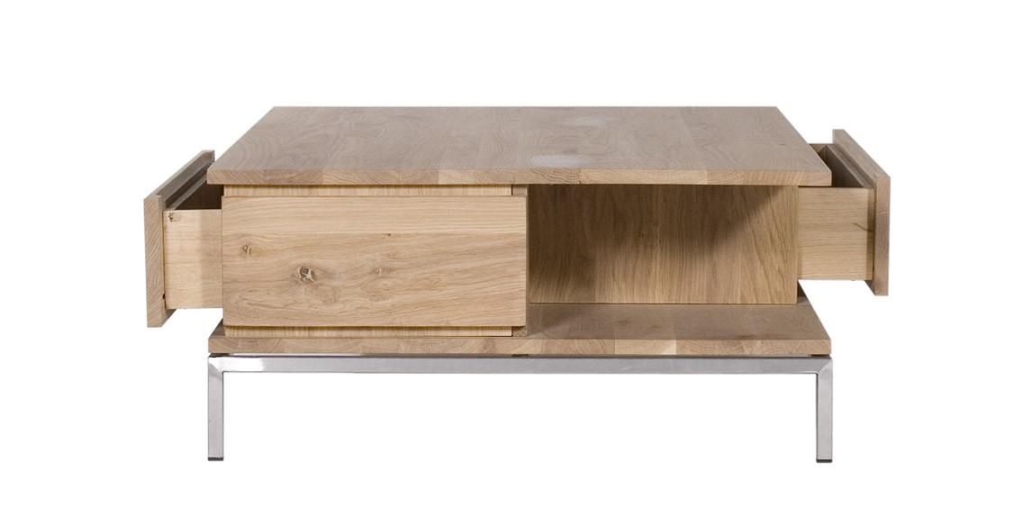 Table basse oak ligna d 39 ethnicraft 2 tiroirs largeur 130cm for Table basse ethnicraft