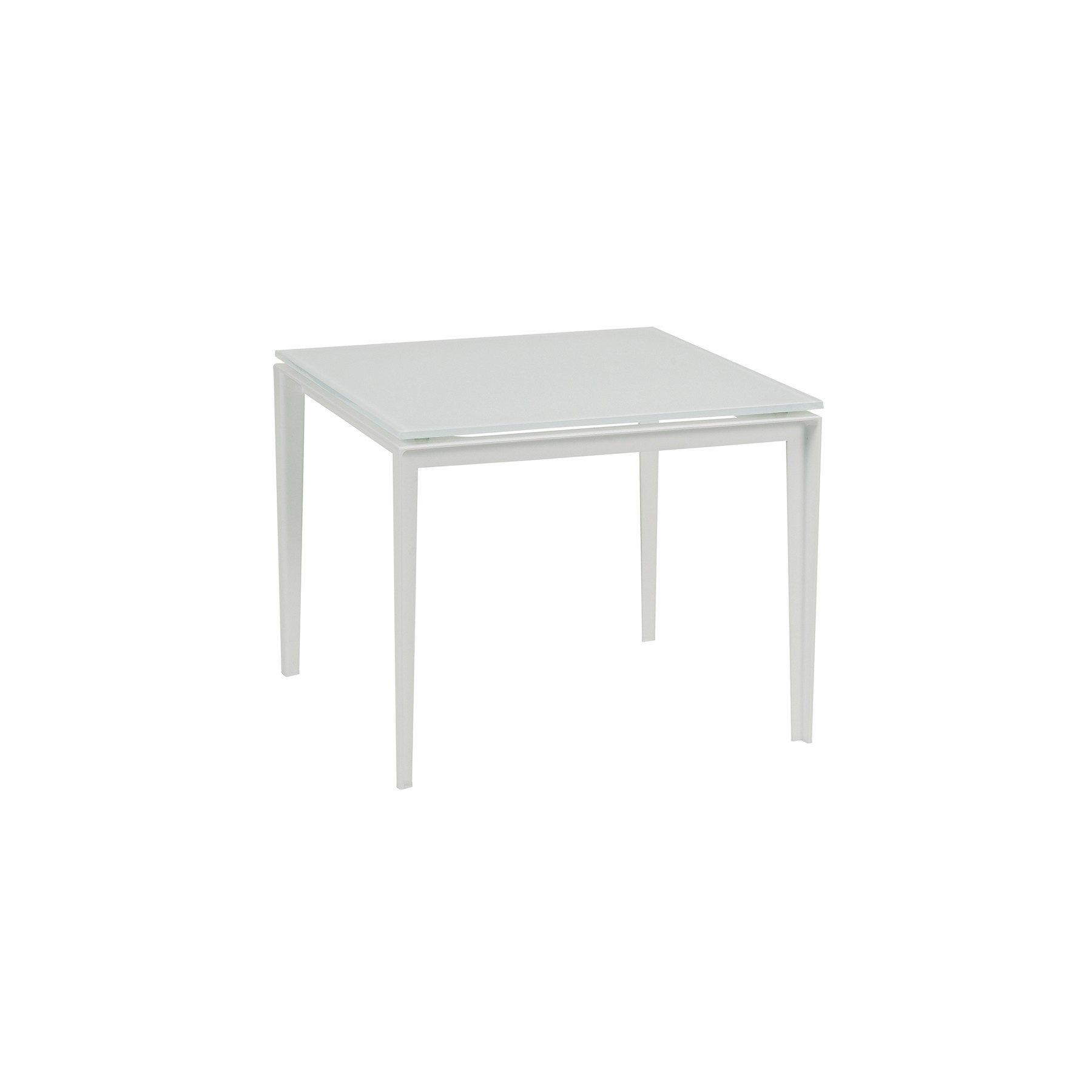 Table basse litlle l de royal botania blanc et plateau verre blanc for Table basse verre et blanc