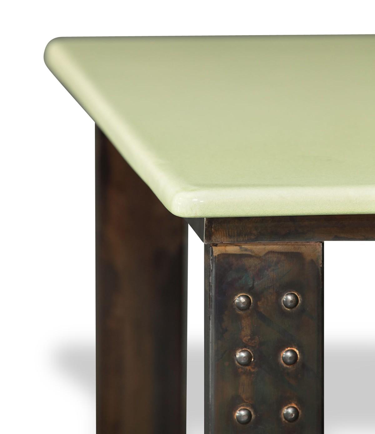 Table en pierre de lave maill e pied atelier c ladon - Table en pierre de lave ...