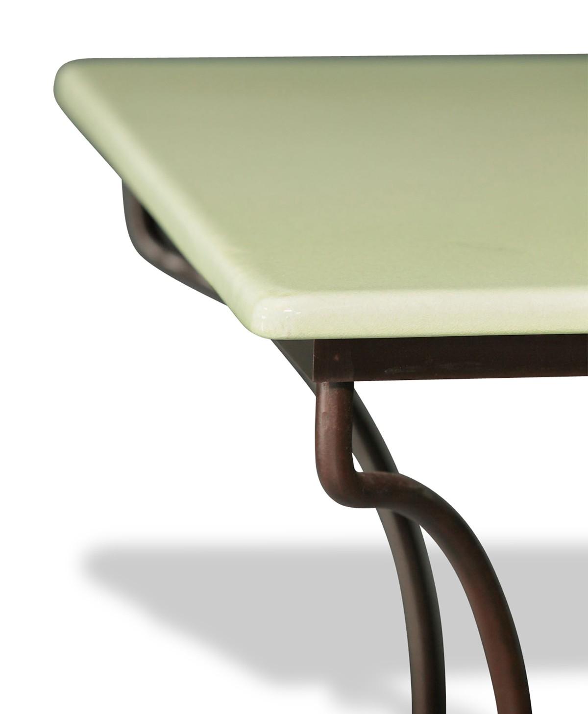 table en pierre de lave maill e pied directoire 5 coloris. Black Bedroom Furniture Sets. Home Design Ideas