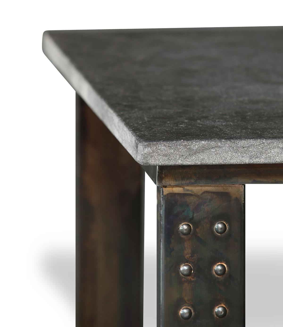 table en pierre petit granit belge pied atelier. Black Bedroom Furniture Sets. Home Design Ideas