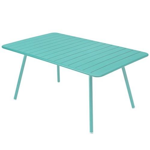 Table luxembourg pour 6 personnes de fermob bleu lagune for Table 6 personnes