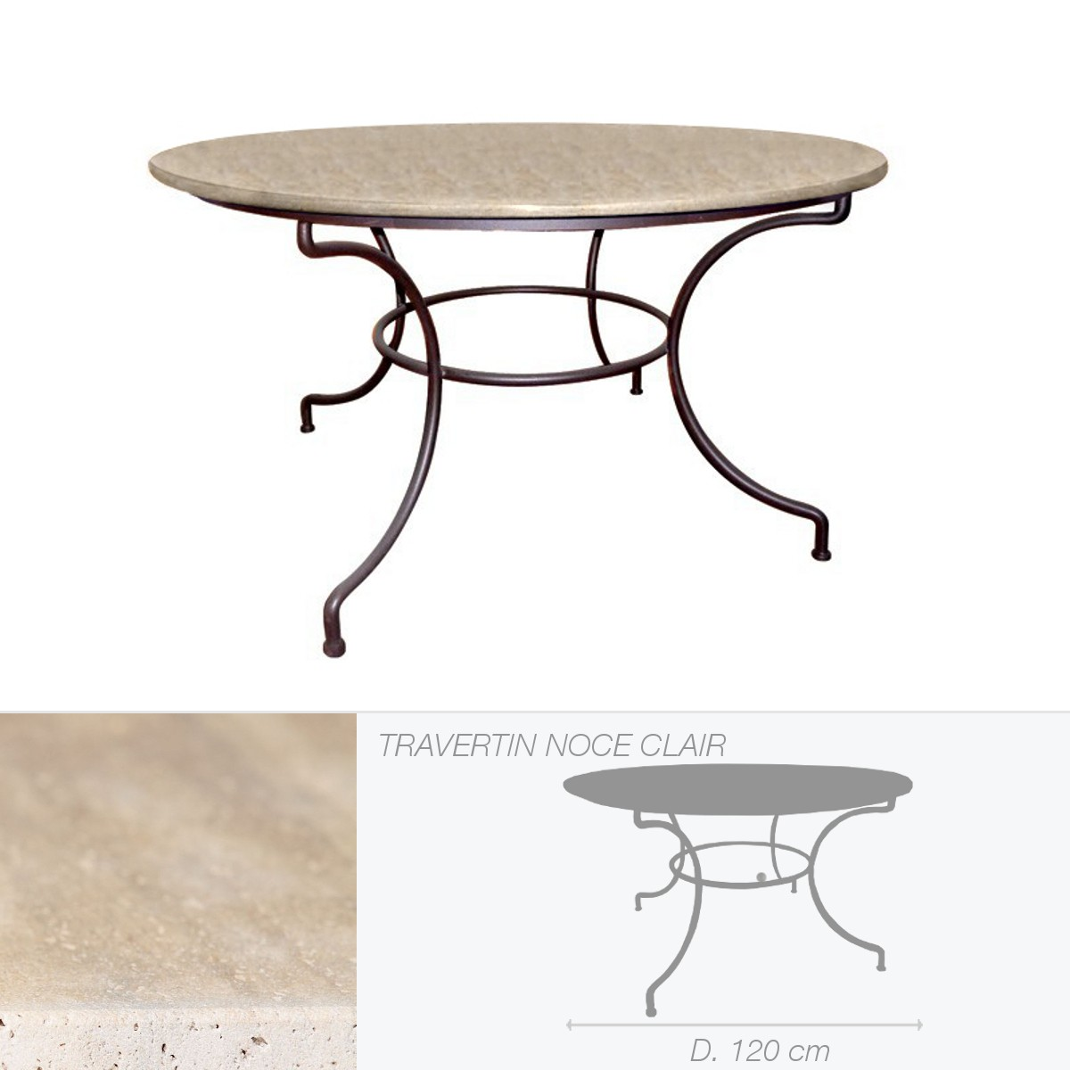 table ronde en pierre de travertin noce clair. Black Bedroom Furniture Sets. Home Design Ideas