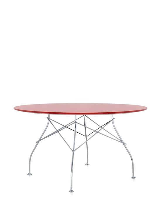 Table Ronde Glossy De Kartell Rouge