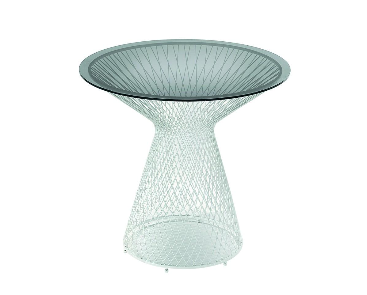 table ronde heaven de emu 80 cm blanc mat verre fum. Black Bedroom Furniture Sets. Home Design Ideas