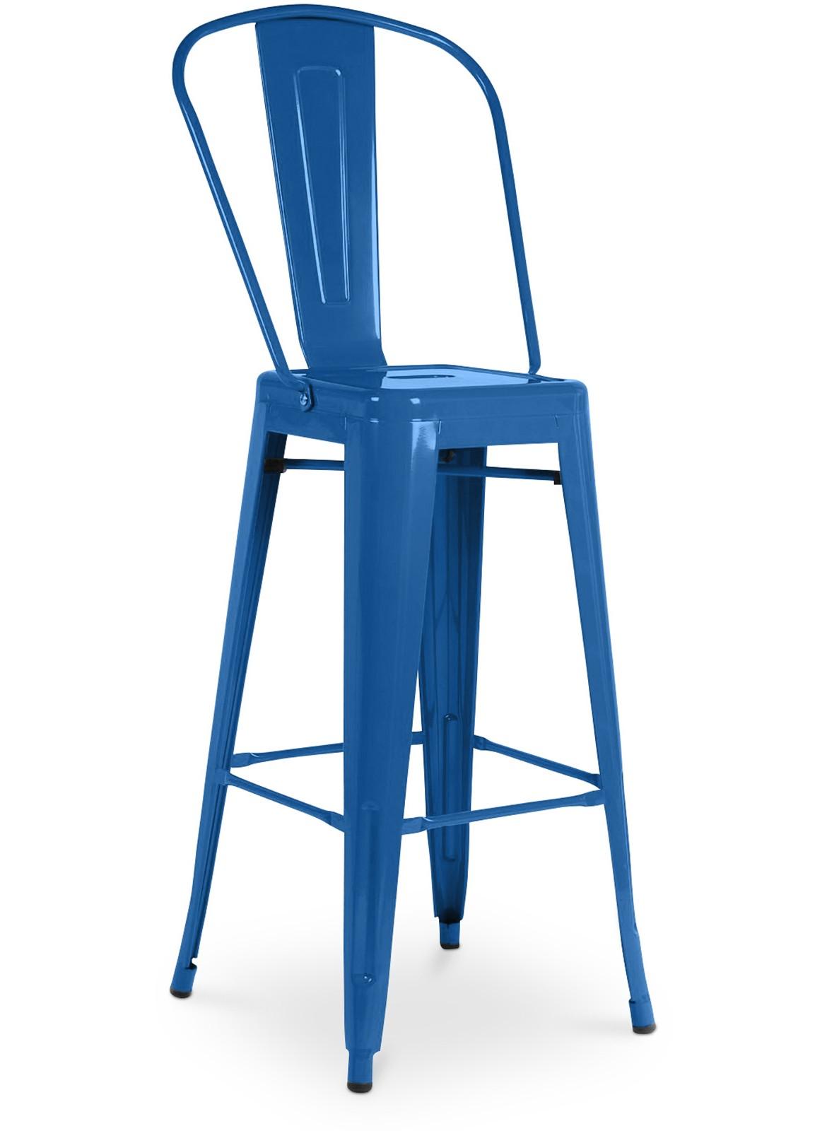 tabouret haut avec grand dossier de tolix en acier laqu bleu oc an. Black Bedroom Furniture Sets. Home Design Ideas