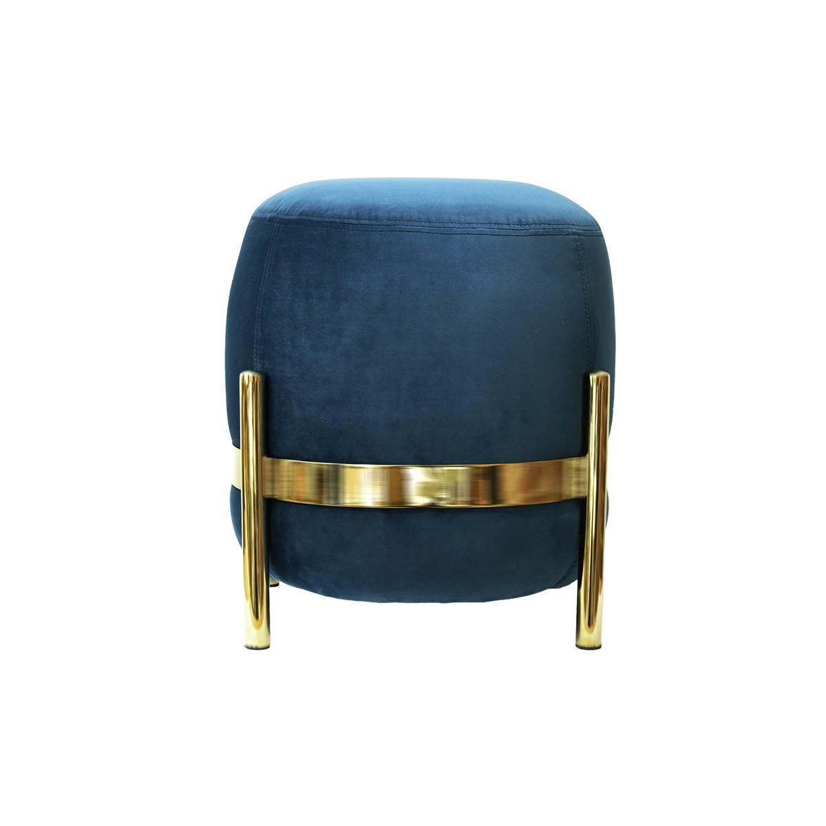 pouf vega de enostudio bleu canard et acier laitonn. Black Bedroom Furniture Sets. Home Design Ideas