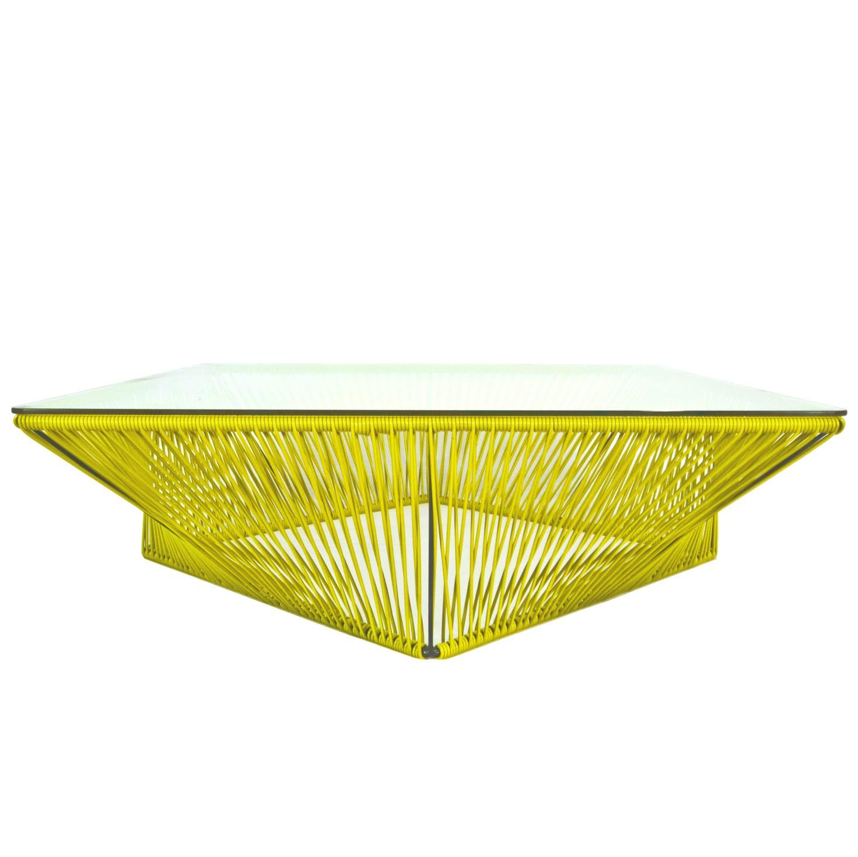 Table Basse Carree Veracruz De Boqa 100 X 100 Jaune Moutarde