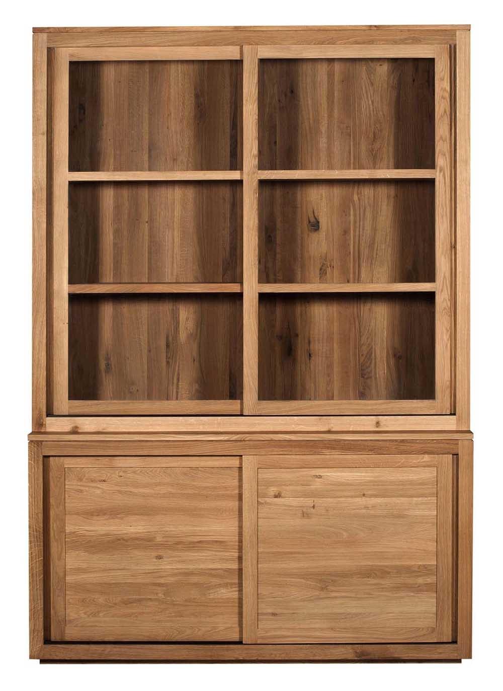 Vitrine oak pure d 39 ethnicraft 2 portes coulissantes en verre - 2 portes coulissantes ...