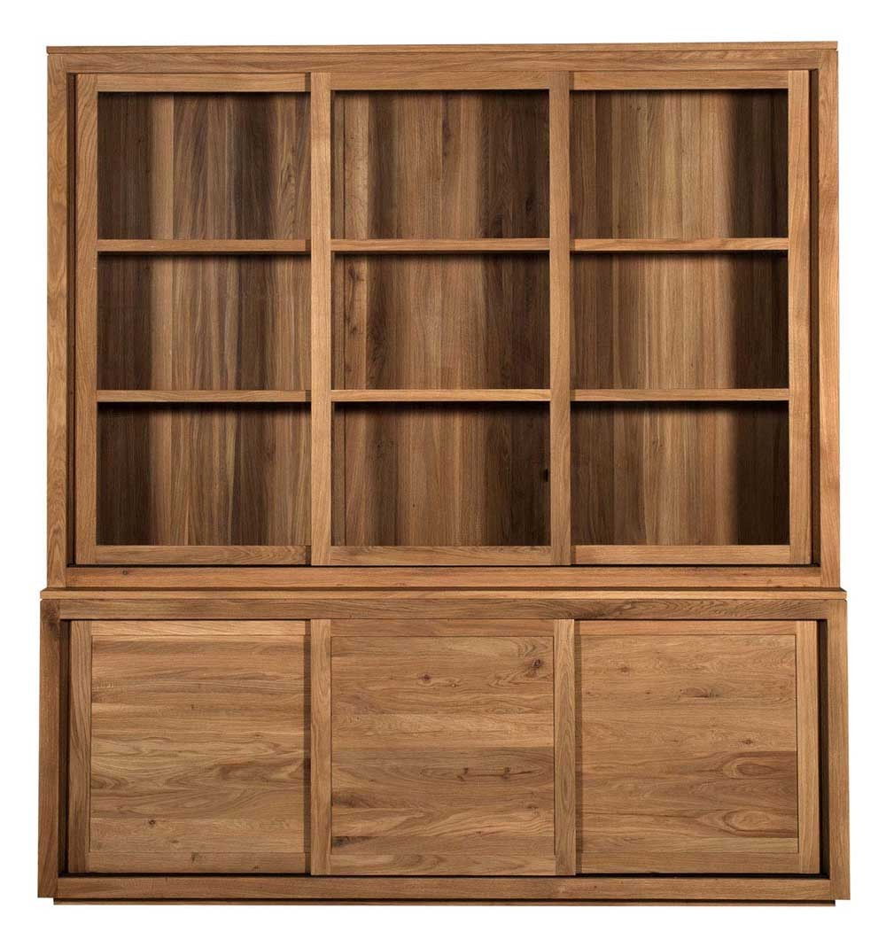 vitrine oak pure d 39 ethnicraft 3 portes coulissantes en verre largeur 200cm. Black Bedroom Furniture Sets. Home Design Ideas
